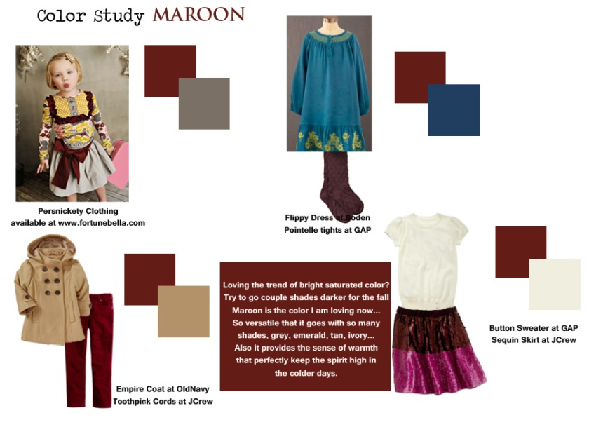 Maroon color combinations children outfits